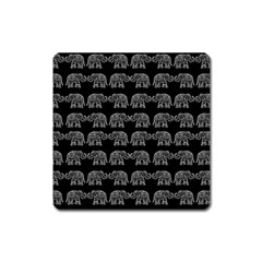 Indian Elephant Pattern Square Magnet by Valentinaart