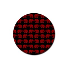 Indian Elephant Pattern Rubber Round Coaster (4 Pack)  by Valentinaart