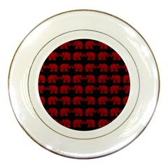 Indian Elephant Pattern Porcelain Plates by Valentinaart