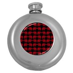 Indian Elephant Pattern Round Hip Flask (5 Oz) by Valentinaart