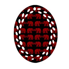Indian Elephant Pattern Oval Filigree Ornament (two Sides) by Valentinaart