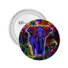 Abstract Elephant With Butterfly Ears Colorful Galaxy 2 25  Buttons by EDDArt