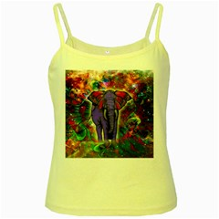 Abstract Elephant With Butterfly Ears Colorful Galaxy Yellow Spaghetti Tank by EDDArt