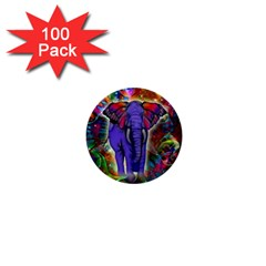 Abstract Elephant With Butterfly Ears Colorful Galaxy 1  Mini Buttons (100 Pack)  by EDDArt