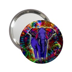 Abstract Elephant With Butterfly Ears Colorful Galaxy 2 25  Handbag Mirrors by EDDArt