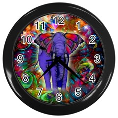 Abstract Elephant With Butterfly Ears Colorful Galaxy Wall Clocks (black) by EDDArt