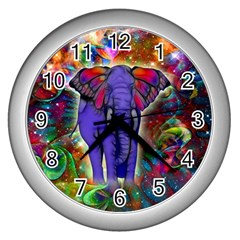Abstract Elephant With Butterfly Ears Colorful Galaxy Wall Clocks (silver)  by EDDArt