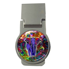 Abstract Elephant With Butterfly Ears Colorful Galaxy Money Clips (round)  by EDDArt