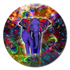 Abstract Elephant With Butterfly Ears Colorful Galaxy Magnet 5  (round) by EDDArt