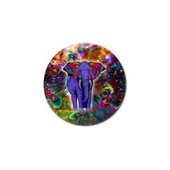 Abstract Elephant With Butterfly Ears Colorful Galaxy Golf Ball Marker (4 Pack) by EDDArt