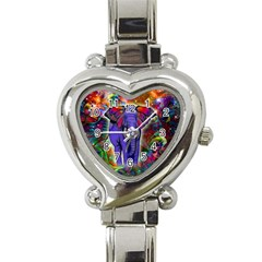 Abstract Elephant With Butterfly Ears Colorful Galaxy Heart Italian Charm Watch by EDDArt
