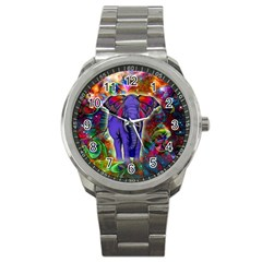 Abstract Elephant With Butterfly Ears Colorful Galaxy Sport Metal Watch by EDDArt