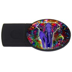 Abstract Elephant With Butterfly Ears Colorful Galaxy Usb Flash Drive Oval (4 Gb) by EDDArt