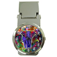 Abstract Elephant With Butterfly Ears Colorful Galaxy Money Clip Watches by EDDArt