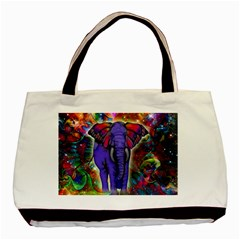 Abstract Elephant With Butterfly Ears Colorful Galaxy Basic Tote Bag by EDDArt