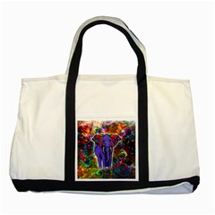 Abstract Elephant With Butterfly Ears Colorful Galaxy Two Tone Tote Bag by EDDArt