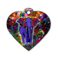 Abstract Elephant With Butterfly Ears Colorful Galaxy Dog Tag Heart (one Side) by EDDArt