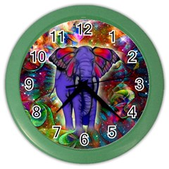 Abstract Elephant With Butterfly Ears Colorful Galaxy Color Wall Clocks by EDDArt