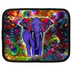 Abstract Elephant With Butterfly Ears Colorful Galaxy Netbook Case (xxl)  by EDDArt