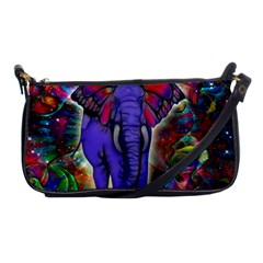 Abstract Elephant With Butterfly Ears Colorful Galaxy Shoulder Clutch Bags by EDDArt