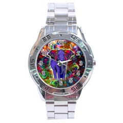Abstract Elephant With Butterfly Ears Colorful Galaxy Stainless Steel Analogue Watch by EDDArt