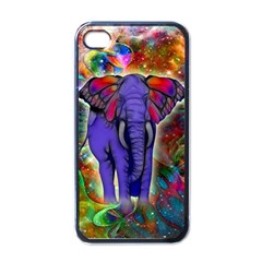 Abstract Elephant With Butterfly Ears Colorful Galaxy Apple Iphone 4 Case (black) by EDDArt