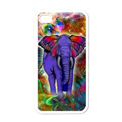Abstract Elephant With Butterfly Ears Colorful Galaxy Apple Iphone 4 Case (white) by EDDArt