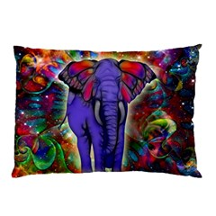 Abstract Elephant With Butterfly Ears Colorful Galaxy Pillow Case (two Sides) by EDDArt