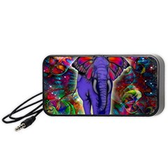 Abstract Elephant With Butterfly Ears Colorful Galaxy Portable Speaker (black) by EDDArt