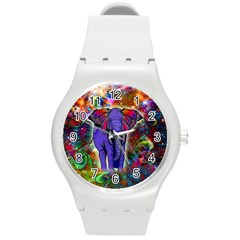 Abstract Elephant With Butterfly Ears Colorful Galaxy Round Plastic Sport Watch (m) by EDDArt