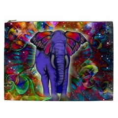 Abstract Elephant With Butterfly Ears Colorful Galaxy Cosmetic Bag (xxl)  by EDDArt