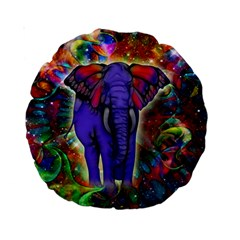 Abstract Elephant With Butterfly Ears Colorful Galaxy Standard 15  Premium Round Cushions by EDDArt