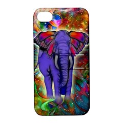 Abstract Elephant With Butterfly Ears Colorful Galaxy Apple Iphone 4/4s Hardshell Case With Stand by EDDArt