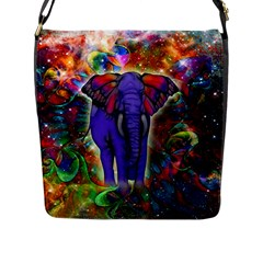 Abstract Elephant With Butterfly Ears Colorful Galaxy Flap Messenger Bag (l)  by EDDArt