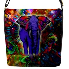 Abstract Elephant With Butterfly Ears Colorful Galaxy Flap Messenger Bag (s) by EDDArt