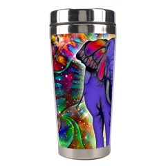 Abstract Elephant With Butterfly Ears Colorful Galaxy Stainless Steel Travel Tumblers by EDDArt
