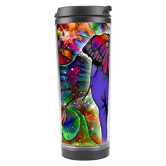 Abstract Elephant With Butterfly Ears Colorful Galaxy Travel Tumbler by EDDArt
