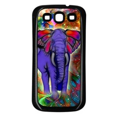 Abstract Elephant With Butterfly Ears Colorful Galaxy Samsung Galaxy S3 Back Case (black) by EDDArt