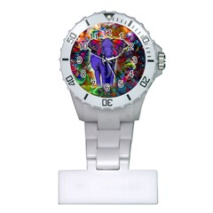 Abstract Elephant With Butterfly Ears Colorful Galaxy Plastic Nurses Watch by EDDArt