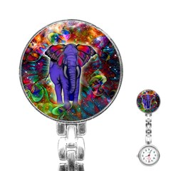 Abstract Elephant With Butterfly Ears Colorful Galaxy Stainless Steel Nurses Watch by EDDArt