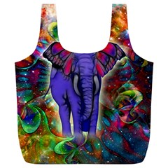 Abstract Elephant With Butterfly Ears Colorful Galaxy Full Print Recycle Bags (l)  by EDDArt