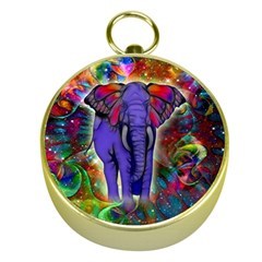 Abstract Elephant With Butterfly Ears Colorful Galaxy Gold Compasses by EDDArt