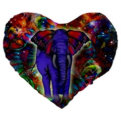 Abstract Elephant With Butterfly Ears Colorful Galaxy Large 19  Premium Flano Heart Shape Cushions by EDDArt