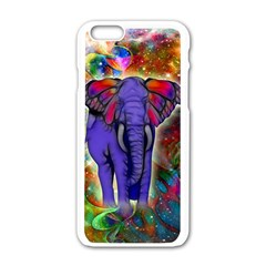 Abstract Elephant With Butterfly Ears Colorful Galaxy Apple Iphone 6/6s White Enamel Case by EDDArt