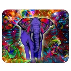 Abstract Elephant With Butterfly Ears Colorful Galaxy Double Sided Flano Blanket (medium)  by EDDArt