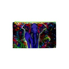Abstract Elephant With Butterfly Ears Colorful Galaxy Cosmetic Bag (xs) by EDDArt