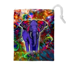 Abstract Elephant With Butterfly Ears Colorful Galaxy Drawstring Pouches (extra Large) by EDDArt