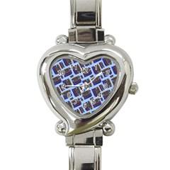 Abstract Pattern Seamless Artwork Heart Italian Charm Watch by Amaryn4rt