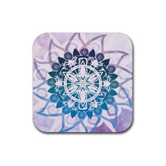 Mandalas Symmetry Meditation Round Rubber Coaster (square)  by Amaryn4rt
