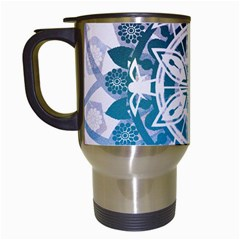 Mandalas Symmetry Meditation Round Travel Mugs (white) by Amaryn4rt